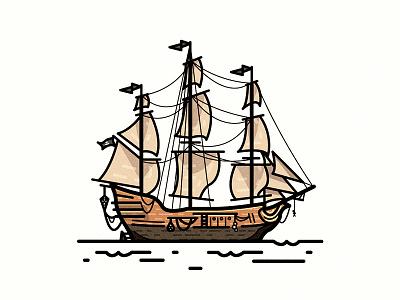 Queen Anne's Revenge illustration ship boat pirate blackbeard revenge annes queen