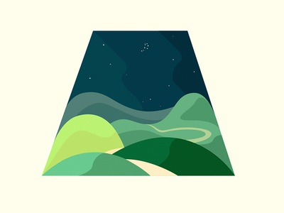 The Pleiades over the hills illustration landscape hill stars pleiades