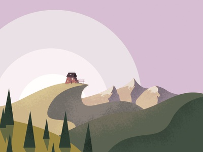 House on a hill illustration mountain hill landscape house