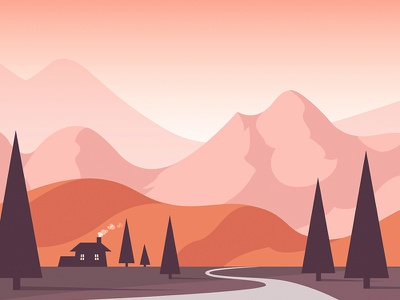 House in a valley illustration mountain hill landscape house