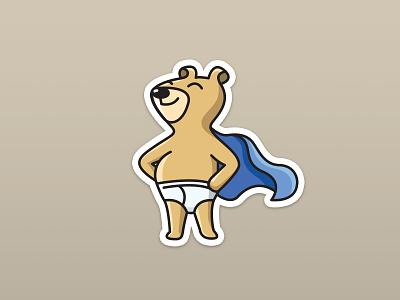 """I Used The Potty!"" Sticker illustration vector sticker bear toilet potty"