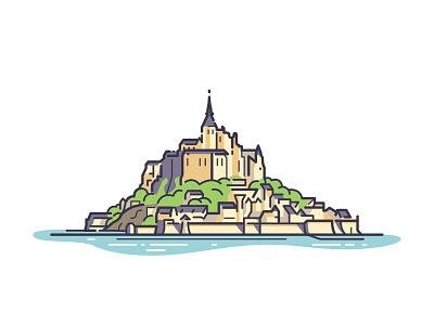 Le Mont Saint-Michel contest sticker illustration le mont-saint-michel normandy france