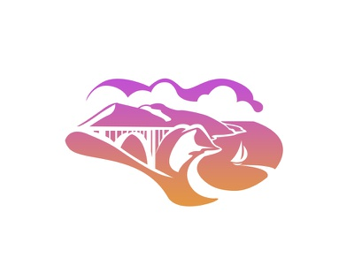 California vector states illustration sur big bridge mountain coast california