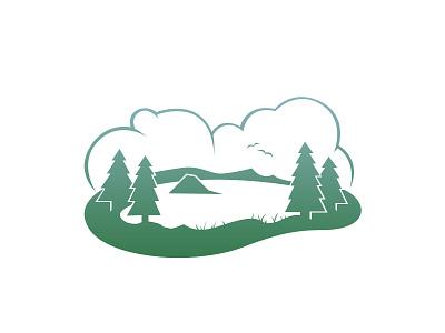 Oregon america landscape trees illustration vector flat minimalistic usa united states lake crater oregon