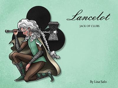 Lancelot - Jack of clubs jack clubs character design card design ink pastel craft paper illustration character cards