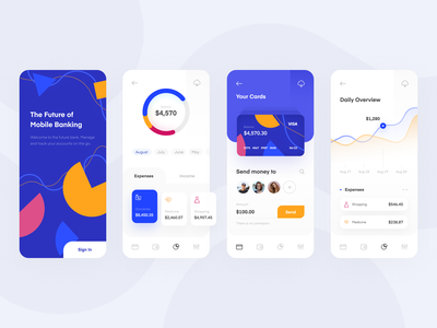 Mobile Banking App expenses presentation screen iphone mobile ui mobile app slider card credit card sign in login menu home overview statistics pie chart chart financial banking bank
