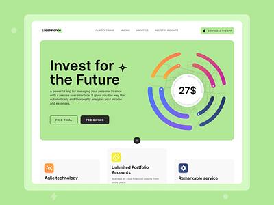 Ease Finance | A New Finance Tracking Experience dailyui minimal modern ease finance clean ux green vector illustration design ui web design expense finance ui design