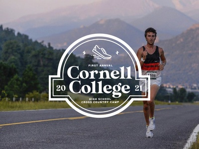 Cornell College XC Camp Logo Lockup colorado outdoors camp earth nature running shoes runner running lockup color palette illustrator logo typography branding design