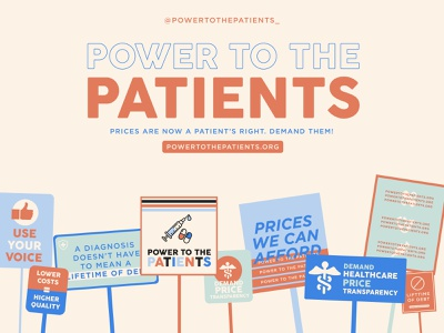 Power to the Patients illustration color palette typography color patient health healthcare design politics call for art human rights health healthcare branding design