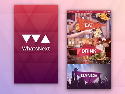 WhatsNext Splash Screen and Menu dance drink eat mobile native app iphone menu splash ios