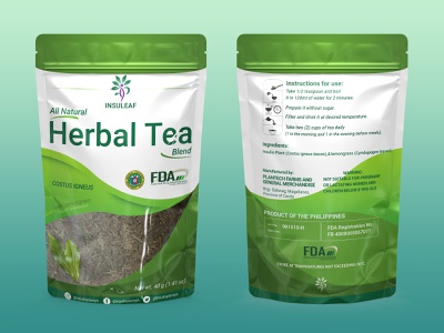 Insuleaf Pouch (Packaging) Herbal Tea green mockup product vector branding design illustration graphic design