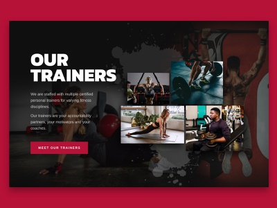 Section splash sections web layout graphic design dark theme fitness gym web design
