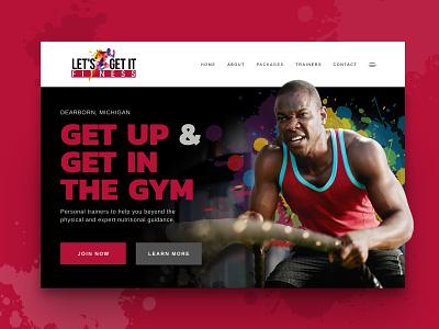 Let's get it fitness splash bold workout fit fitness graphic design web design