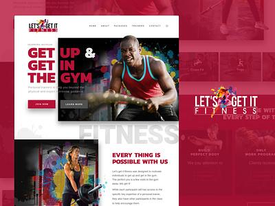 Let's get it fitness. Full design splash gym fitness web design graphic design