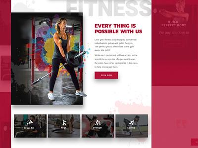 Let's get it fitness. Full design gym fitness splash web design graphic design