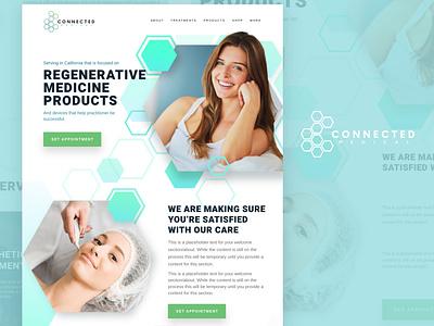 Connected Medical Full Design light colors skin care flow hexagons medical healthcare skin health graphic design web design