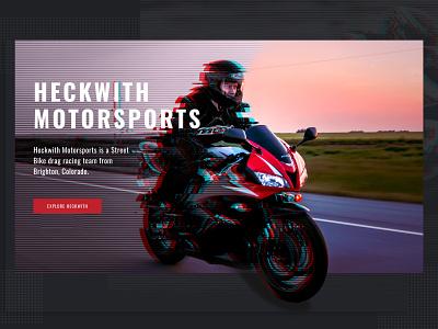 Motorsports Banner dark theme racing motorbike glitch motorsports design illustration web design graphic design