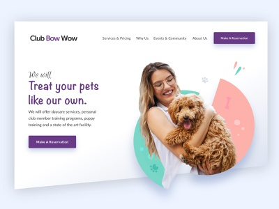Club Bow Wow simple design shapes pets dog neat simple clean illustration graphic design web design