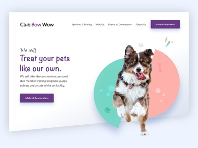Club Bow Wow (concept_2) simple design simple shapes treatment dogs training dog pet clean web design graphic design