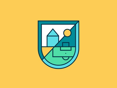 The Bluehouses Football Camp Logo modern heraldry football logo design monoline crest emblem