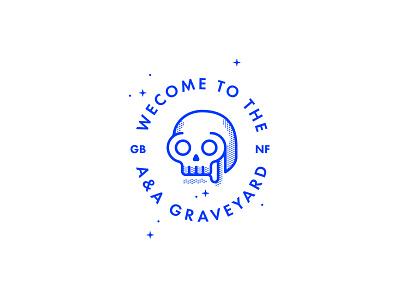 A&A Graveyard Illustration angel and anchor skull illustration monoline logo design design branding belfast