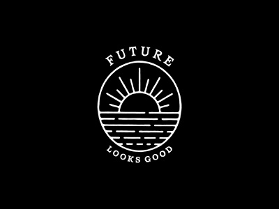 Hand-Illustrated Crest for Future Looks Good editorial vintage identity logo design branding and identity photography brand sunset monoline crest seal hand illustrated branding