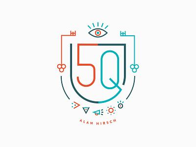 Monoline Crest Design for 5Q Book Cover modern heraldry minimal vector key symbols eye logo design seal crest monoline identity branding