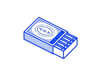 5 Year Anniversary Matchbox design matches match matchbox vector agency graphic design monoline illustration design logo design identity belfast branding
