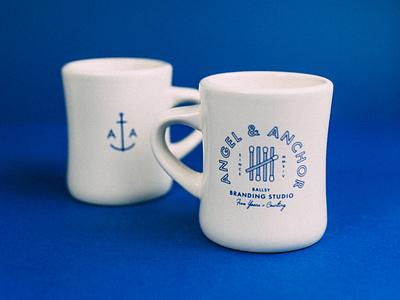 Angel & Anchor Limited Edition Diner Mug layout typography seal graphic design royal blue anchor matches agency branding mug merch for sale diner mug