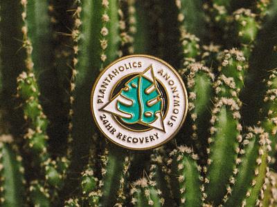 Plantaholics Anonymous Enamel Pin plantaholic graphic design seal badge crest monoline designer gifts enamelpins pin badge gifts monstera plant enamel pin