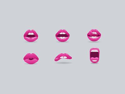 Lip Emoji mouth sexy lust tongue teeth lipstick icons lips emoji