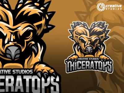TRICERATOPS LOGO GAMING esport logo design
