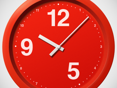 Red Analog Clock  clock red illustration shapes