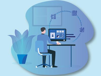 Illustration - For a website homepage . ux stay safe stayhome work from home website design vector illustration ui design
