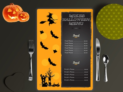 Food menu card . Special Menu card Design For This HALLOWEEN