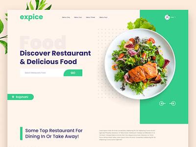 Restaurant & Food Landing Page food and drink restaurant food branding products web website ux ui minimal flat design