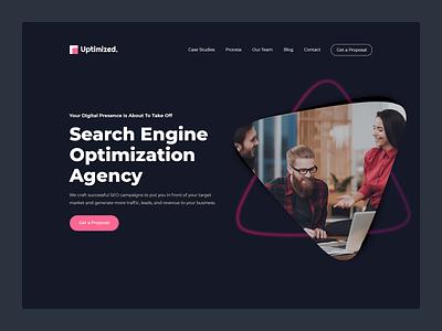 Uptimized | Branding and website design dark business branding website web ux ui minimal flat design