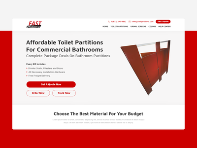 Bathroom Partition Company flat minimal website design web ux ui