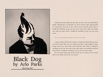 Black Dog by Arlo Parks editorial music album music art poetry lyrics monster winston churchill illustration album artwork design album art music mental health