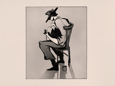 One More Cup of Coffee by Bob Dylan illustration black and white illustration ink inktober2020 inktober music guitarist newspper black and white drawing ink doodle drawing coffee playing guitar guitar cowboy western one more cup of coffee bob dylan