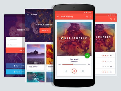 Android Music App - Material Design spotify app ui sketchapp music material material design android