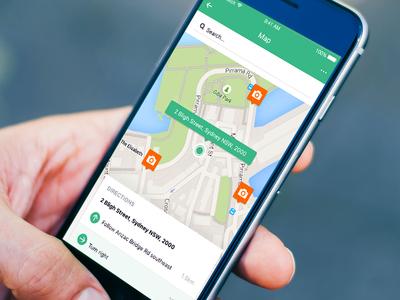 iOS map flat minimal ios user interface ui mobile app sketch