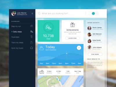 Fitness activity tracker activity sport running health ui interface dashboard tracker fitness app