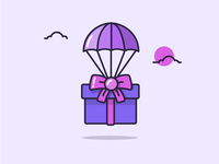 Illustration - It's on its way! purple clouds balloon gift present outline illustration