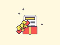 Illustration - Gift received! yellow red open gift present outline illustration