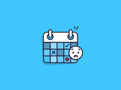 Illustration - Time's running out! calendar gift icons outline flat blue illustration