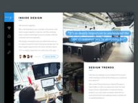Section screen clean minimal interface ux ui blog ipad
