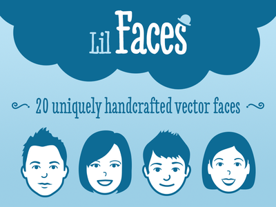 Lil Faces - Vector pack faces vector head face man women avatar creative market