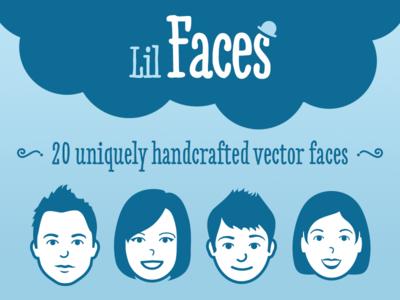 Lil Faces - Vector pack faces vector head face man women avatar creative market