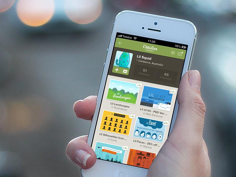Creative Market iPhone App concept ios iphone mockup concept idea app profile creative market
